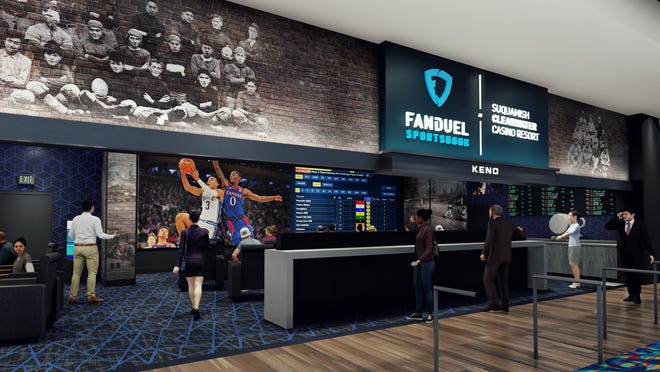 Artist concept of the planned FanDuel sportsbook facility coming to the Suquamish Clearwater Casino Resort this fall.