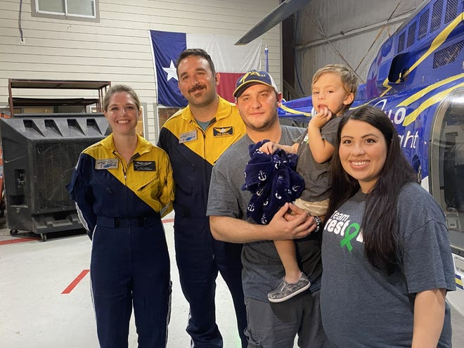 Nine months after his ATV accident, 2-year-old PrestonSimpson and his parents got the chance Wednesday to visit the HALO-Flight office, tour a helicopter and meet the flight crew from the day of the accident.