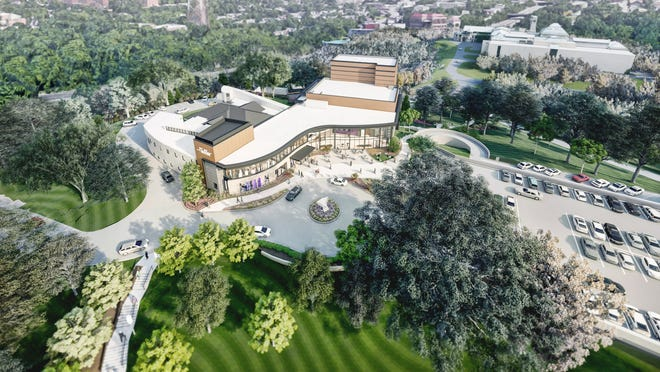An artist's rendering of the Playhouse in the Park's new theater complex, currently under construction. The mainstage theater, called Moe and Jack's Place – the Rouse Theatre, will be built just north of the Marx Theatre, which will be razed following the 2021-2022 season. You can see the Cincinnati Art Museum in the upper right corner of the rendering.