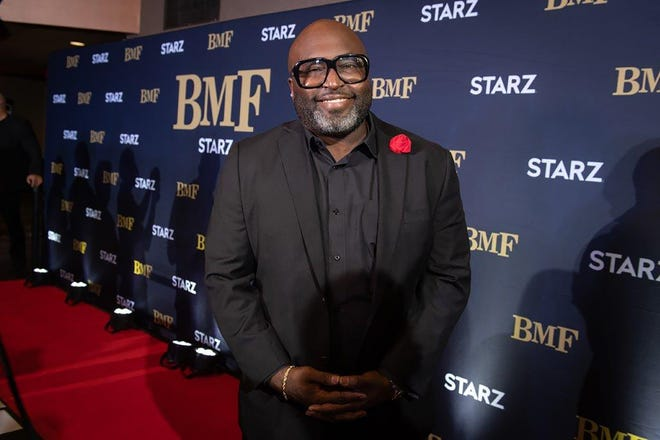 """Randy Huggins attended a screening of the first episode of the Starz drama """"BMF"""" at the Royal Oak Emagine on Sept. 26."""
