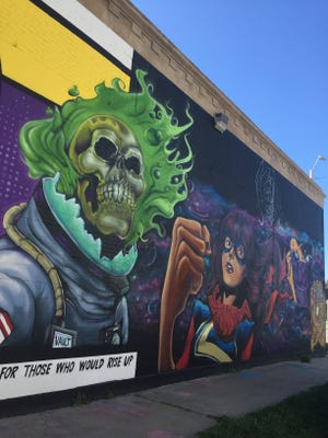 Vault of Midnight's mural is an homage to Detroit-based comics and creators.