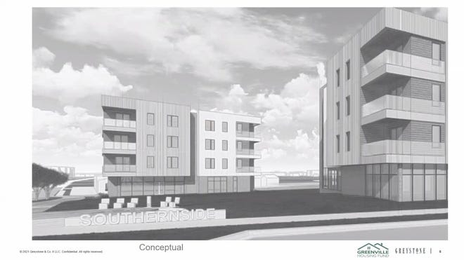A conceptual rendering of the new Southernside senior apartments proposed for West Washington Street.