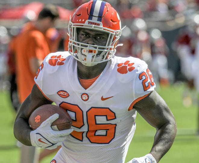 Clemson running back Phil Mafah warms up before the Tigers' game last week at N.C. State.