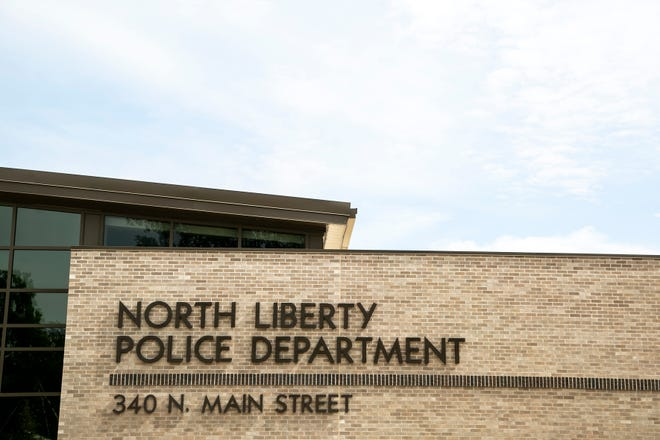 The North Liberty Police Department headquarters building is seen, Tuesday, Sept. 14, 2021, at 340 N. Main Street in North Liberty, Iowa.