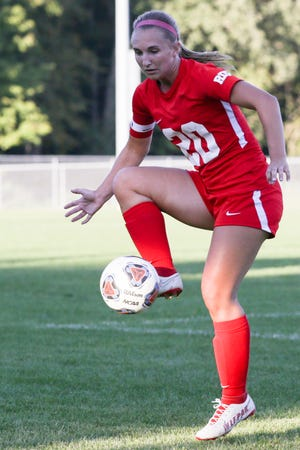 West Lafayette's Kylie Reif (20) kicks the ball during the first half of an IHSAA girls soccer match, Tuesday, Sept. 28, 2021 in West Lafayette.