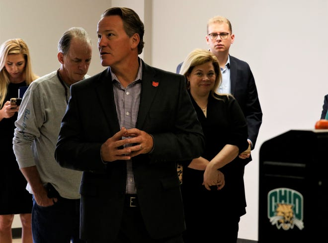 Ohio Lt. Gov. Jon Husted speaks during a tour of the Fairfield County Workforce Center Wednesday, Sept. 29. The center offers an alternative to continuing education and accreditation.