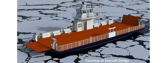 Rendering of Neebish Island ferry to be built by Burger Boat Company