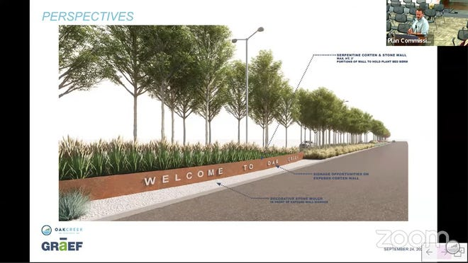 In this streetscaping concept from GRAEF, new trees, walls and lighting could be installedalong Drexel Avenue from Ikea Way to Howell Avenue. Craig Huebner of GRAEF presented the concept to the Oak Creek plan commission on Sept. 28.