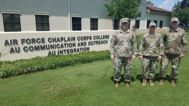 """Chaplains Maj. Daniel """"Shane"""" Walker, Maj. Glen """"JR"""" Harris and Maj. James """"Godfather"""" Galyon serve together as staff chaplains and instructors at the Air Force Chaplain Corps College (AFCCC)."""