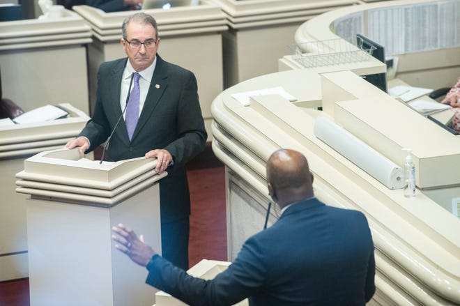 Rep. Steve Clouse takes questions during a debate of House Bill 4 the Alabama State House in Montgomery, Ala., on Wednesday, Sept. 29, 2021.