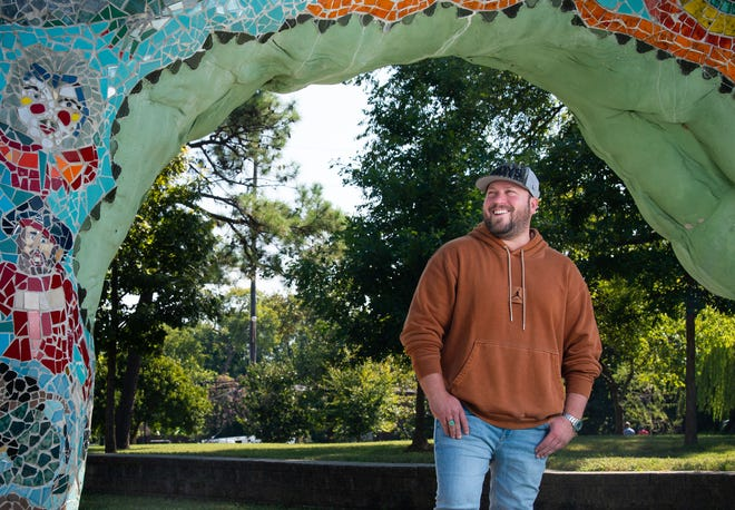 Nashville musician Mitchell Tenpenny, has released a new album called 'Midtown Diaries' EP and is set to perform at the Ryman Auditorium, October 10, pictured at the Fannie Mae Dees Park  'Dragon Park' in Nashville, Tuesday, Sept. 28, 2021.