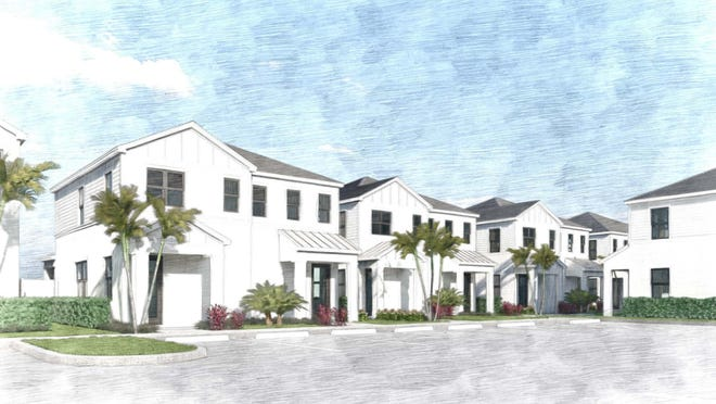 Renderings of horizontal apartment projects similar to Soltura at Terry Street, a proposed community east of Interstate 75.