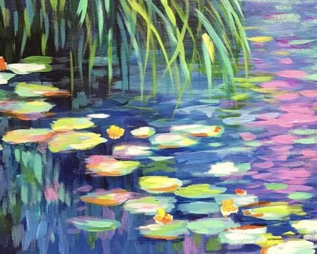 Enjoy a Monet-themed painting class on Oct. 13, 2021 at Pinot's Palette.
