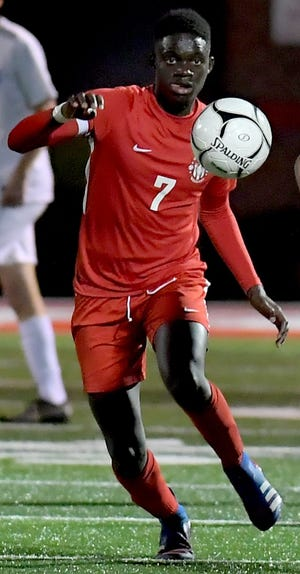 Fallou Cisse, seen here in a file photo, had two goals and an assist on Wednesday in Susquehannock's 3-2 boys' soccer win at New Oxford.