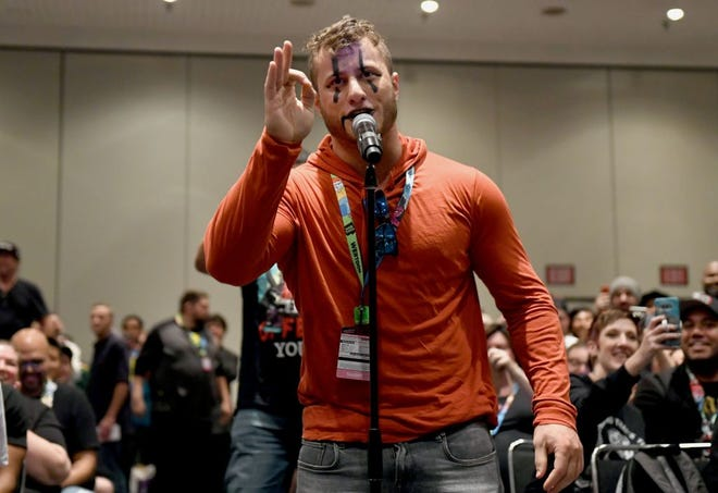 Maxwell Jacob Friedman aka MJF makes a surprise appearance during the All Elite Wrestling panel during 2019 New York Comic Con at Jacob Javits Center on October 04, 2019 in New York City.