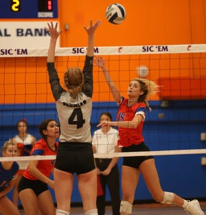 San Angelo Central's Amory Fly, right, puts up a shot against Odessa Permian at Babe Didrikson gym on Tuesday, Sept. 28, 2021.