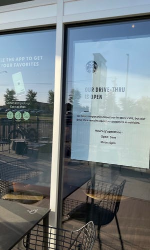 A Starbucks location off of Sycamore Avenue states that its dine-in service is temporarily closed as of September 28, 2021.
