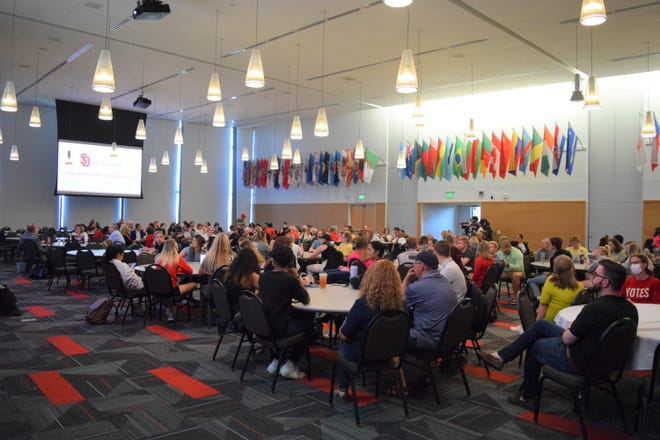 A crowd of more than 250 students, staff and faculty at the University of South Dakota were present for a listening session on opportunity centers at USD on Sept. 28, 2021.