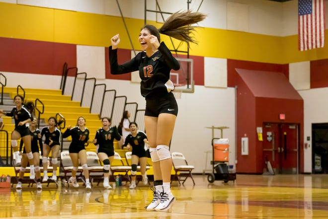 El Dorado's Alyssa Terrazas (12) celebrates during the game against Ysleta High School, Tuesday, Sept. 28, 2021, at El Dorado High School in El Paso.