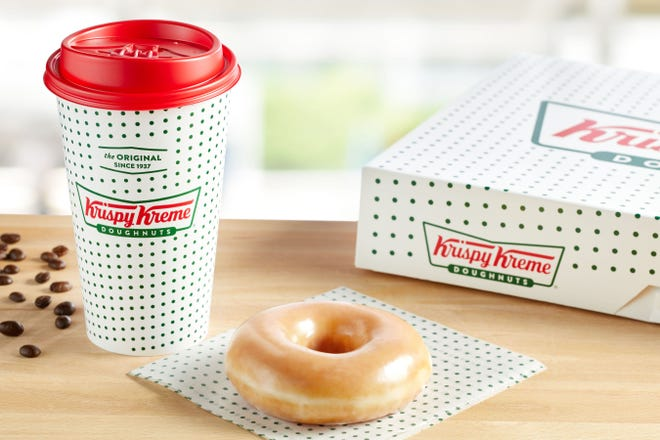Krispy Kreme loyalty members get a free cup of coffee and doughnut for National Coffee Day.