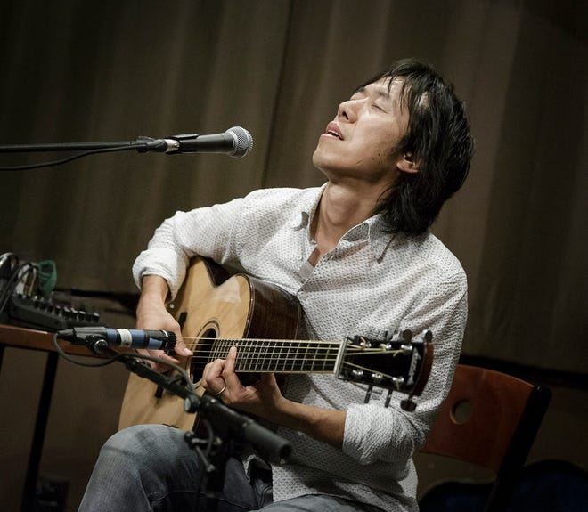 Hiroya Tsukamoto performs on his guitar. Originally from Kyoto, Japan, Tsukamoto's performances are a mixture of guitar performance and storytelling. He will be performing at The Goddard Center on Friday, October 15.