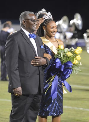 A crown is placed on the head of Jefferson County High School's 2021 Homecoming Queen Jacque Copeland during the football game, Friday, Sept. 24. Jacque is the daughter of Roni Mathis and Jack Copeland.