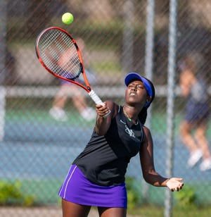 Pascaline Ndayishimye is one of several multisport athletes who have helped spark the DeSales girls tennis team to success this season. Ndayishimye also competes for the track and field program.