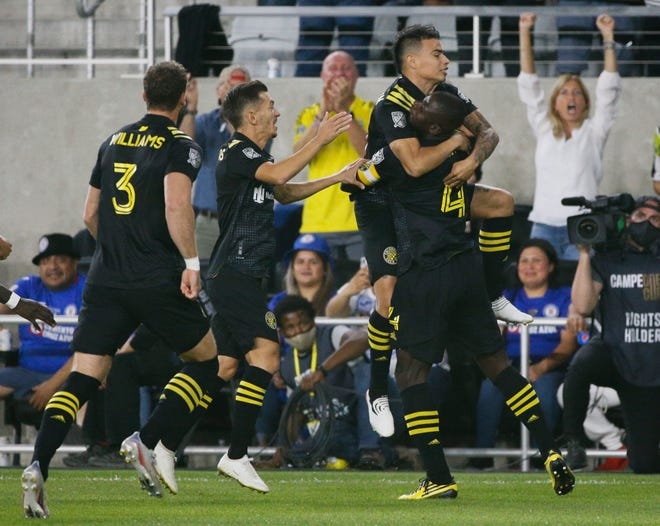 The Crew, here celebrating a goal against Cruz Azul on Wednesday, is in a tight playoff race with seven games to play.