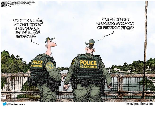 Michael Ramirez cartoon on border patrol