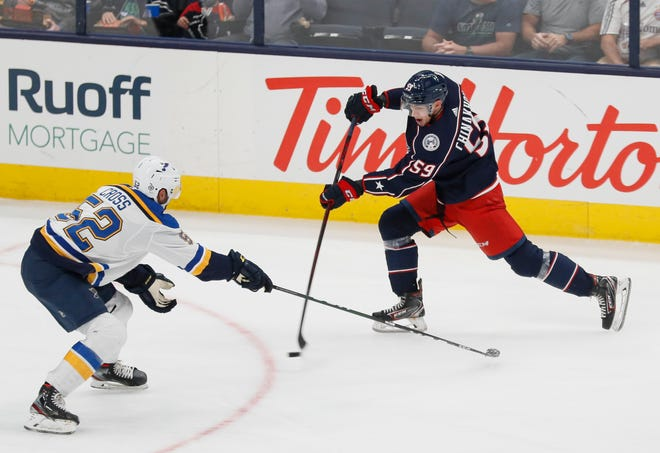 """Columbus Blue Jackets right wing Yegor Chinakhov is what coach Brad Larsen calls a """"one-and-done"""" shooter."""