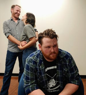 """Clockwise from top left: John Grote as Toby, McLane Nagy as Therese and Tom Murdock as Isaac in MadLab Theatre's production of  """"Let's Hope You Feel Better."""""""