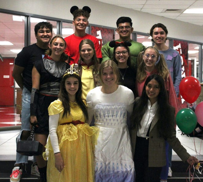 The 2021 Homecoming King and Queen will be announced at halftime of Glen Rose's 7 p.m. contest with Mineral Wells. Here are homecoming court and king and queen nominees: front row from left, Sophomore Princess Reese Andersen; Junior Princess Mattison Young; Freshman Princess Selene De Reza. Middle row from left, Senior Queen Emily Boucher; Senior Queen Zoee Johnson; Senior Queen Caroline Davis; Senior Queen Leila Adams. Back row from left, Senior King Daniel Garcia; Senior King Christian De La Cruz; Senior King Deshawn Magana; and Senior King John Hague. Tuesday was Disney vs. Marvel Day for Homecoming week at Glen Rose High School, so the students were dressed in costume.
