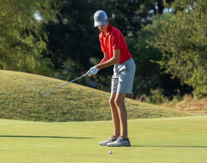 Glen Rose's Scotty Statler watches a putt roll on Saturday on the 12th hole of the Squaw Valley Links Course during the second round of the Glen Rose Fall Invitational. He shot rounds of 92-83, while Tiger Ethan Howard led the Tigers with rounds of 73-82. The Tigers finished 14th in the season-opening tournament. Glen Rose's Addy Turner was the only Lady Tiger to finish both rounds and she had rounds of 99-103.