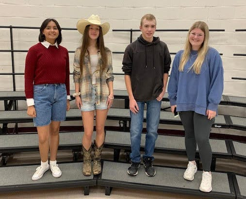 From left, Avril Tovar, Kayla Hughes, Weston Henry and Gracie Smith were selected all-region in Alvarado last Saturday.