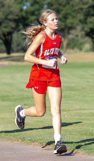 Glen Rose's Lily Melton, seen here at the Glen Rose Invitational earlier this year, posted the time of 13 minutes, 34 seconds at the Brock Meet on Wednesday to lead the Lady Tigers and place third overall. Daylyn Cassidy (sixth, 13:45) and Delaila Gomez (14:09) also medaled for the Lady Tigers, who placed second overall in the meet. The Tigers, led by Caden Smith, who placed 23rd with the time of 20:12.14, finished fourth overall at Brock.