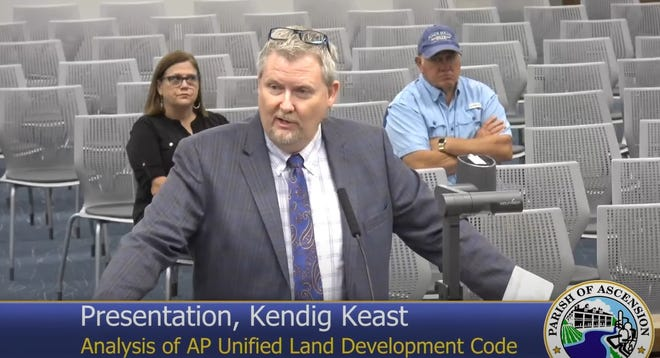 Bret C. Keast of Kendig Keast Collaborative speaks to the Ascension Parish Council during the Sept. 30 meeting in Gonzales.
