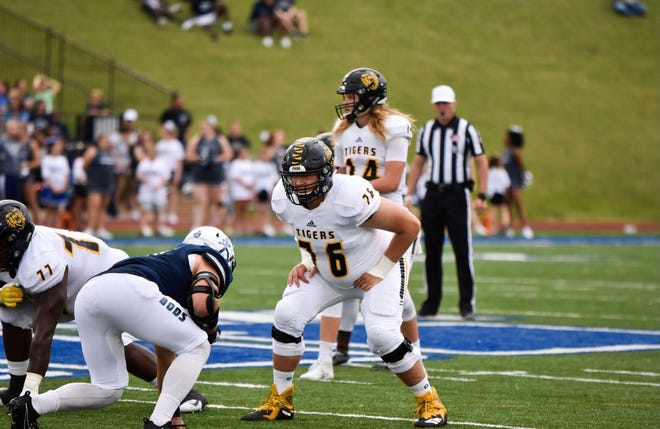 Fort Hays left tackle Pat Kelly lines up to protect the quarterback during a game in the 2019 season. Kelly is one of the leaders on the Tigers' offensive line.