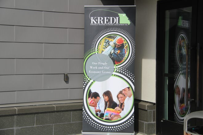 A K-REDI banner stands outside of the Kirksville Aquatic Center on Wednesday, Sept. 29 for K-REDI's annual town hall.