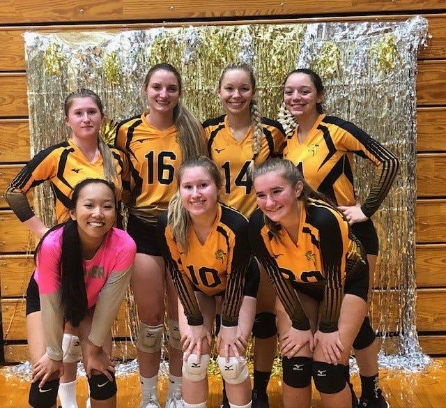Keyser's seniors were victorious on Senior Night, winning three games to zero over Southern. Pictured are Saige Miller, Amber Smith, Kaitlin Heavener, Abigail Smith, Kaelyn Kesner, Rebekah Biser, and Summer Reid.
