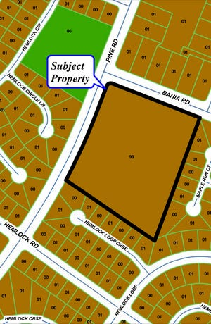 Armstrong Land, LLC, wants to build Whisper Woods, an 82-townhome  development on 10.33 acres, in Silver Springs Shores on the southeast corner of Bahia and Pine roads.