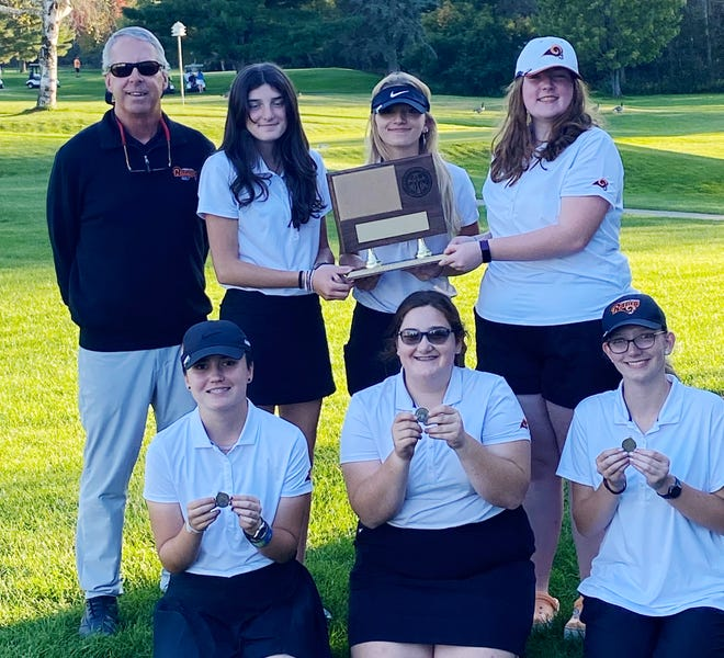 The Harbor Springs girls' golf team claimed another Lake Michigan Conference title Wednesday in Grayling, this time pulling off the win by one stroke in the compiled season matches.