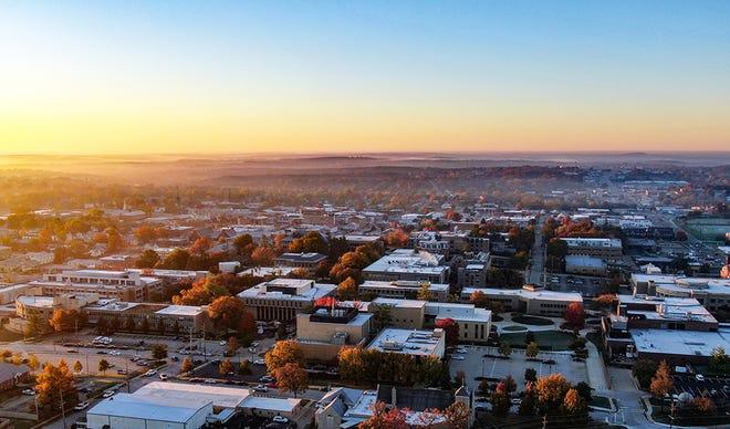Sunrise on the Missouri S&T campus, Nov. 2020. Drone image by Terry Barner, Missouri S&T.