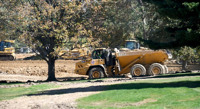 Heavy equipment has been clearing the former Skyland Pines Golf Club to make way for a 1 million-square-foot warehouse referred to as Project Fore. Speculation is the warehouse will be used as an Amazon distribution center.