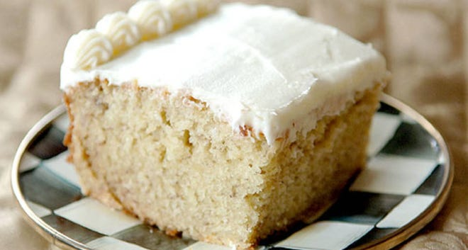 This banana cake is easy to make and frost