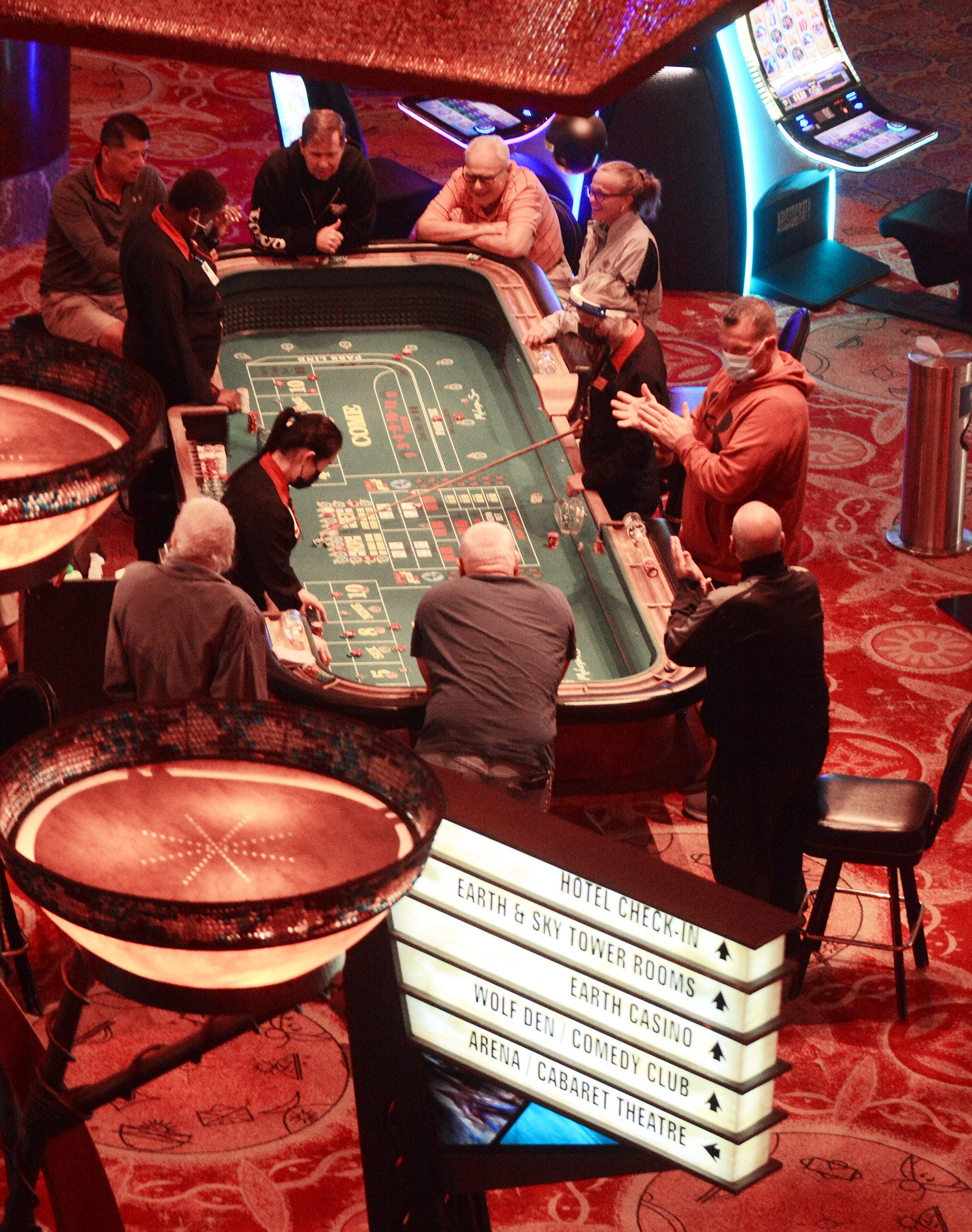A craps table at the Casino of the Sky gaming area at  Mohegan Sun.