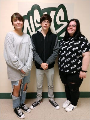 September Teacher's Choice Award winners are from left: Emma Blough, Montgomery Jarosyk and BreAnna Emerick. Absent from photo is Dylan Ansell.