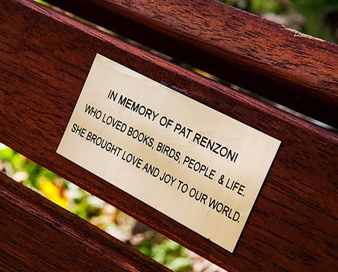 The bench at the Berlin Public Library, dedicated to Pat Renzoni.
