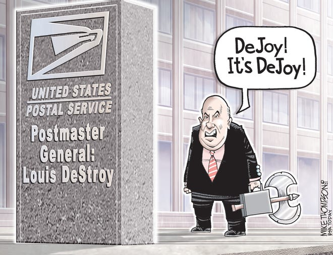 Mike Thompson cartoon on Louis DeJoy's plan for post office service
