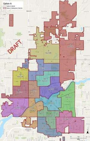 Option A illustrates Appleton's 15 newly drafted aldermanic districts. The boundaries could change as the map is refined.