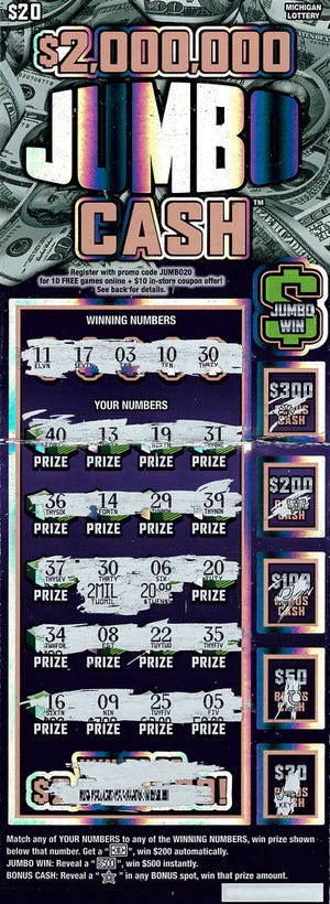 A Macomb County woman recently won $2 million on a $2,000,000 Jumbo Cash instant ticket.